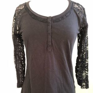 Odd Molly black top with lace embroidery sleeves